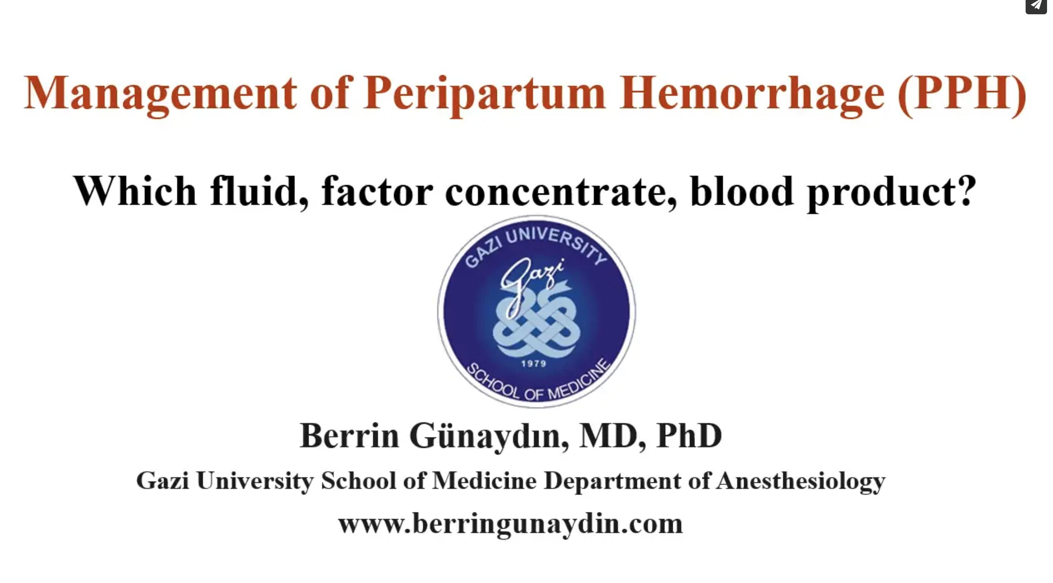 Management of Peripartum Hemorrhage (PPH)