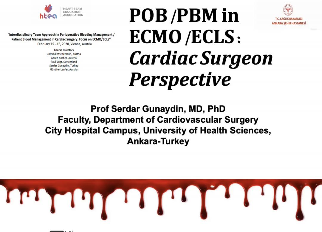 POB PBM in ECMO ECLS Cardiac Surgeon Perspective