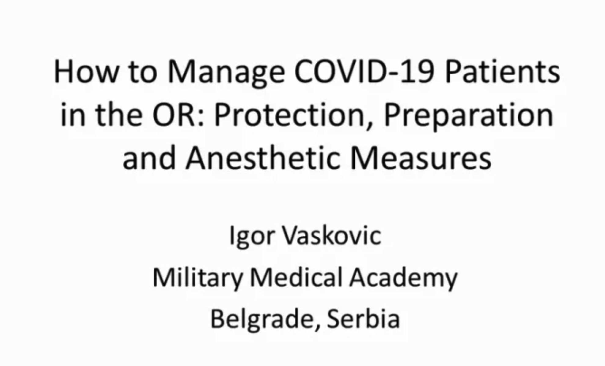 How to manage COVID-19 patients in the OR