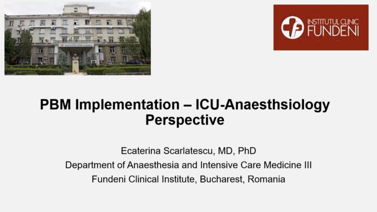 PBM Implementation - ICU Anaesthesiology Perspective